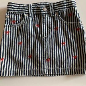 Ralph Lauren Girls' Striped Denim Mini Skirt Sz 5